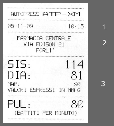 ATP-XM blood pressure monitor ticket example